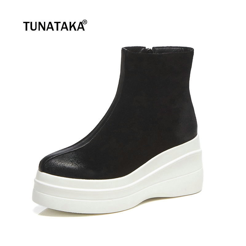 Women Suede Flat Ankle Boots High Heel Fashion Platform Boots Zipper Comfortable Winter Female Shoes Black White Brown womens faux leather comfortable ankle boots platform high heel booties for women fashion buckle winter dress shoes black white