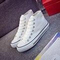 2017 Весна Осень Мода Обувь Белый Холст Обувь Дышащая Повседневная Обувь Высокого Помощь Slipony Белый женская Обувь Zapatos Mujer