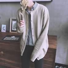 Мужской вязаный свитер с круглым вырезом корейский стиль кардиганы