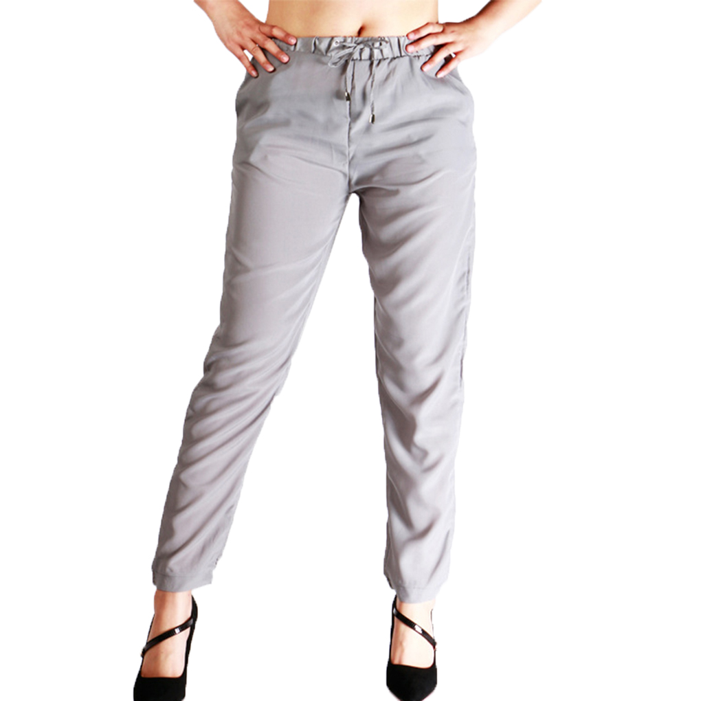 Women Drawstring Chiffon Harem Pants Solid Color Ankle-length Pencil Pants Trousers
