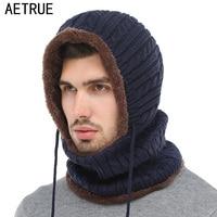 AETRUE Winter Knitted Hat Beanie Men Scarf Skullies Beanies Winter Hats For Women Men Caps Gorras