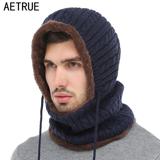 f1ddc19e AETRUE Winter Knitted Hat Beanie Men Scarf Skullies Beanies Winter Hats For Women  Men Caps Gorras Bonnet Mask Brand Hats 2018