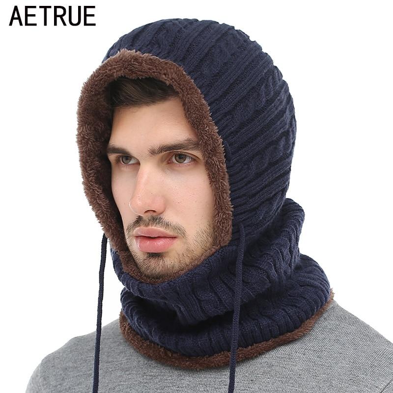 AETRUE de invierno de punto sombrero de la bufanda de los hombres sombrero gorros de invierno sombreros para los hombres y las mujeres Gorras sombrero máscara marca sombreros 2018