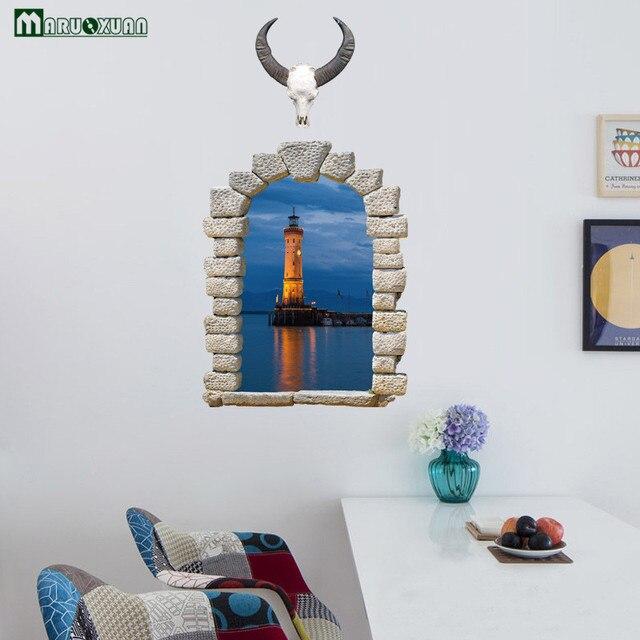 Maruoxuan 3d traghetto faro paesaggio finestra finto ingresso ...