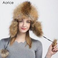 Aorice 2017 New Fashion Winter Women Real Fox Fur Warm Bomber Hats Snow Cap Balaclava Hat Comfort Men Female Caps Ushanka HF709