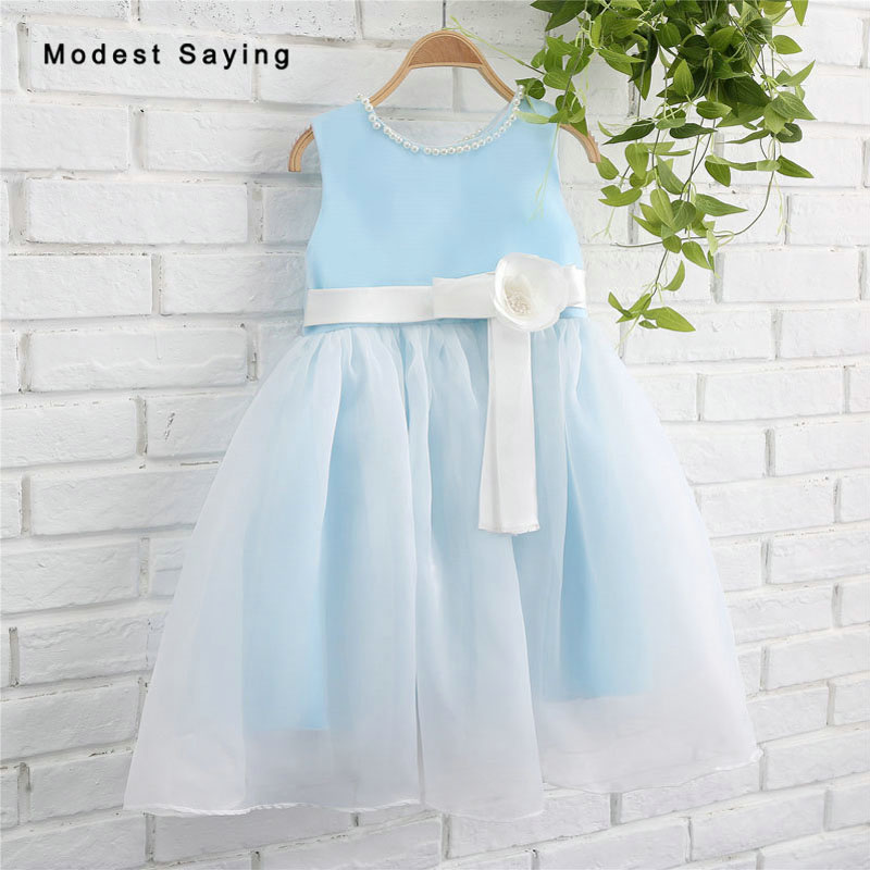 Sky Blue   Flower     Girl     Dresses   2017 with Pearls Neckline Ball Gown Wedding Pageant Gowns First Communion   Dresses   for Little   Girls