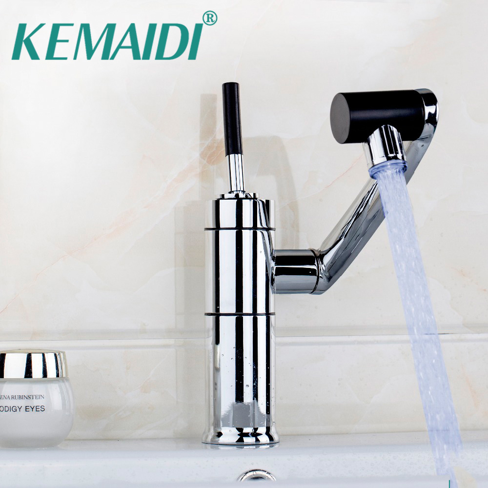 LED 3 Color Luxury Kitchen Bathroom Waterfall Polished Chrome & ORB Finished 360 Swivel Faucet Tap Mixer Basin Sink