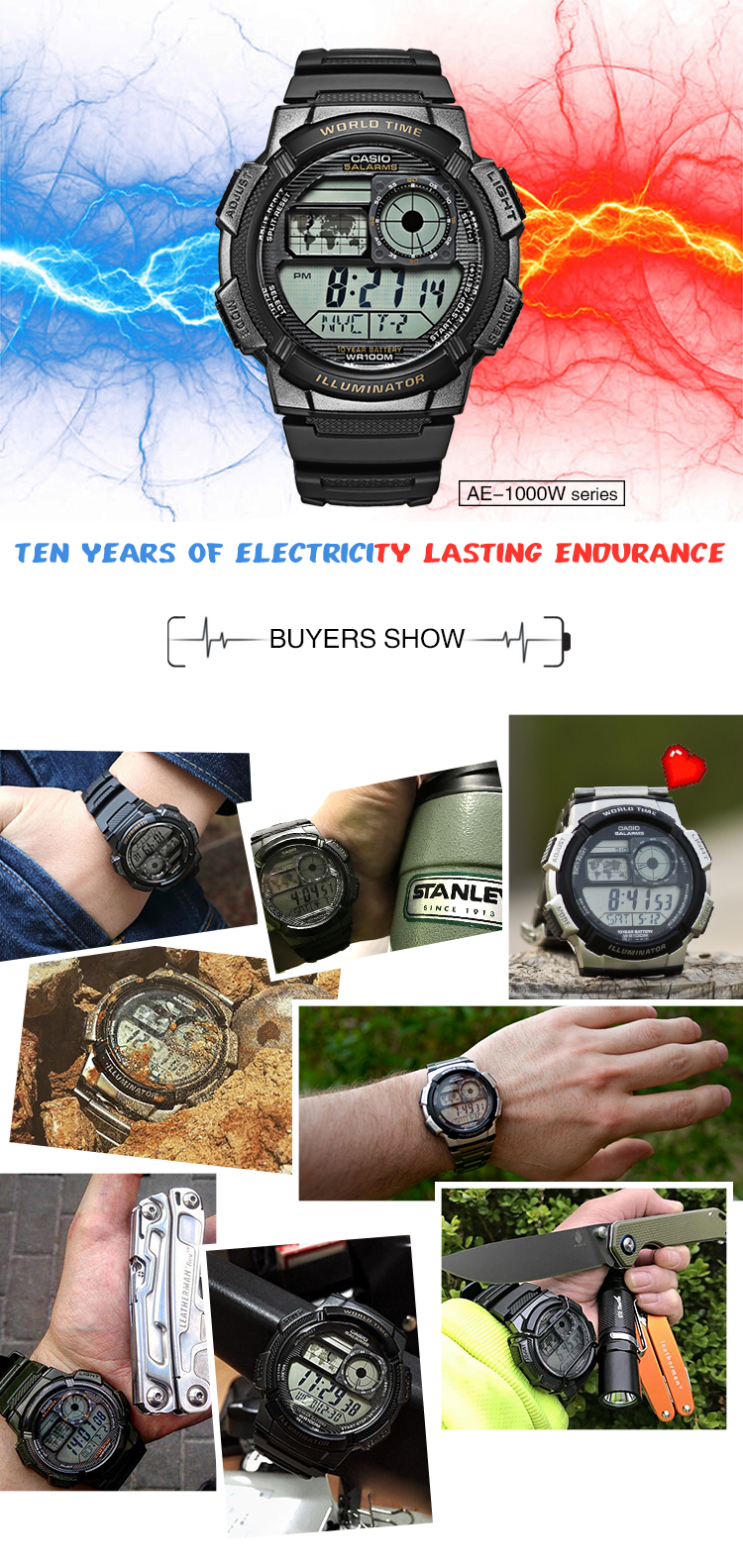 Casio Watch Analogue Mens Quartz Sports Resin Strap Student World Time Ae 1000w 1a Original Xlmodel Photo 0000