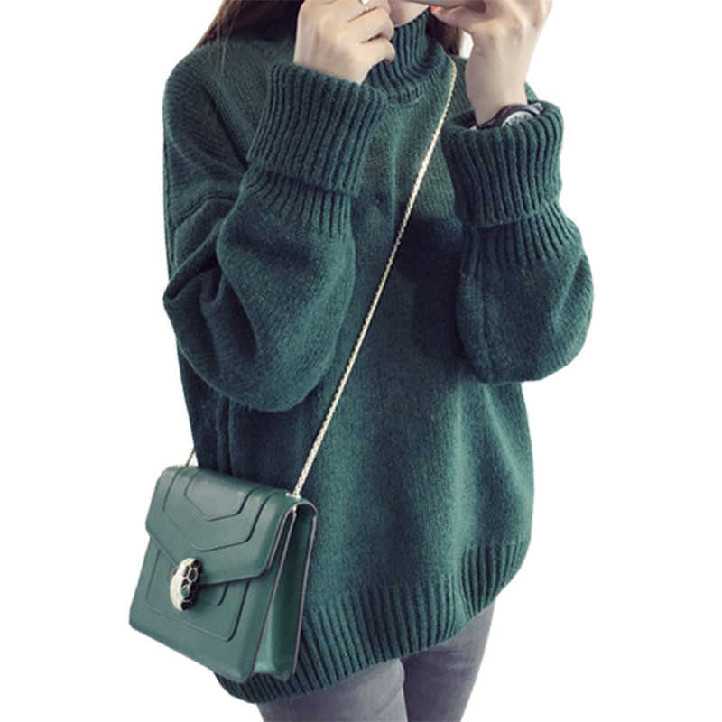 Fall Winter Clothes High-necked Pullover Korean Sweater Women long-sleeved Loose Jumper Large Size Clothing Vestidos LXJ198