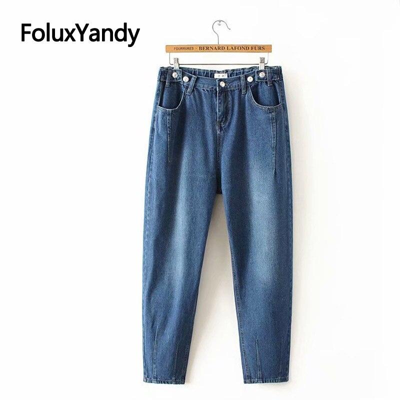Casual Loose Denim Jeans Women Harem Pants Plus Size XXXL 4XL Blue Jeans Ankle-length Trousers KKFY3158