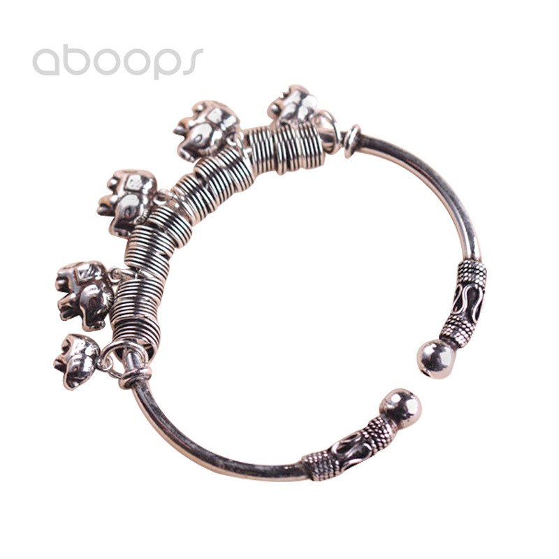 Vintage 925 Sterling Silver Elephant Charms Open Bangle for Women Girls Adjustable Free ShippingVintage 925 Sterling Silver Elephant Charms Open Bangle for Women Girls Adjustable Free Shipping