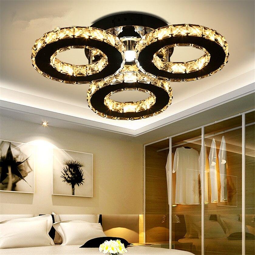 Умеренно LED люстра 3/5 Кольца кристалл потолок Люстры светильник для Спальня Гостиная люстры дома деко Luminaria