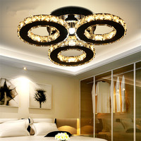 Chandelier With 3 Lights LED Crystal Flush Mount Chandeliers Modern Ceiling Lamp Fixture For Hallway Entry
