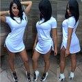 Женщины Плюс Большой Большой Размер Сексуальная & Клуб Платье 2016 Асимметричный Лето Одеяние EtE Белый Платье Vetement Femme Roupas Elbise AX01
