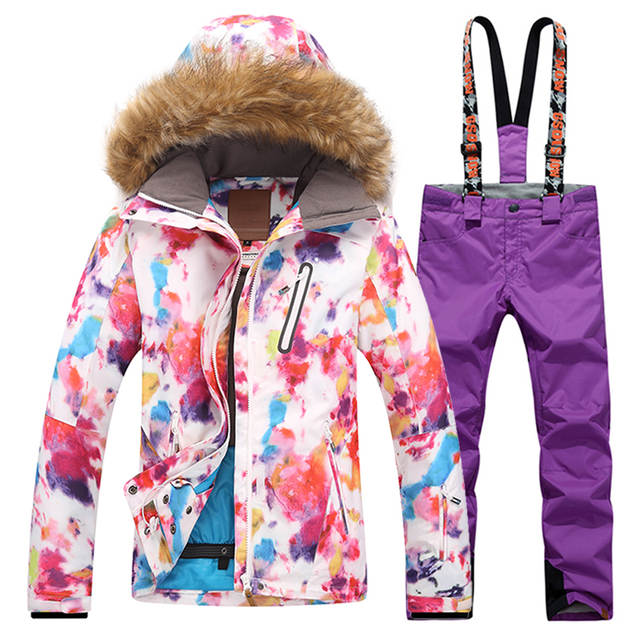 dc27a3808e placeholder Gsou Winter Colorful Womens Ski Suits Snowboard Jacket Snow  Pants Ski Suit Female Warm Waterproof Skiing