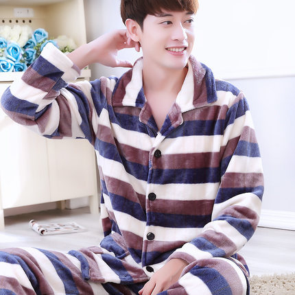 Men's winter thick flannel pajamas piece big yards long-sleeved tracksuit suit