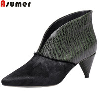 ASUMER 2019 spring new pumps women shoes pointed toe shallow horsehair genuine leather shoes classic dress shoes big size 34 43