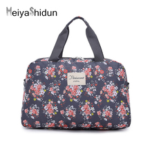 MeiyaShidun Fashion canvas Women Travel Duffel Bag Tower Beauty Lady Print Luggage Handbags weekend Folding Tote Trip Waterproof