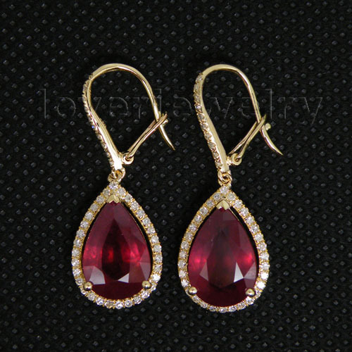 Vintage Solid 22k Gold Ruby Gemstone Necklace Earring: Vintage Pear 8x12mm Solid 14Kt Yellow Gold Diamond Red