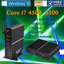 Mini PC Graphique HD 4500 Windows 2*HDMI SD Carte 4 K HTPC Micro Barebone PC NUC Intel Core i7 4500U 4/8GB RAM 64GB SSD 500G HDD