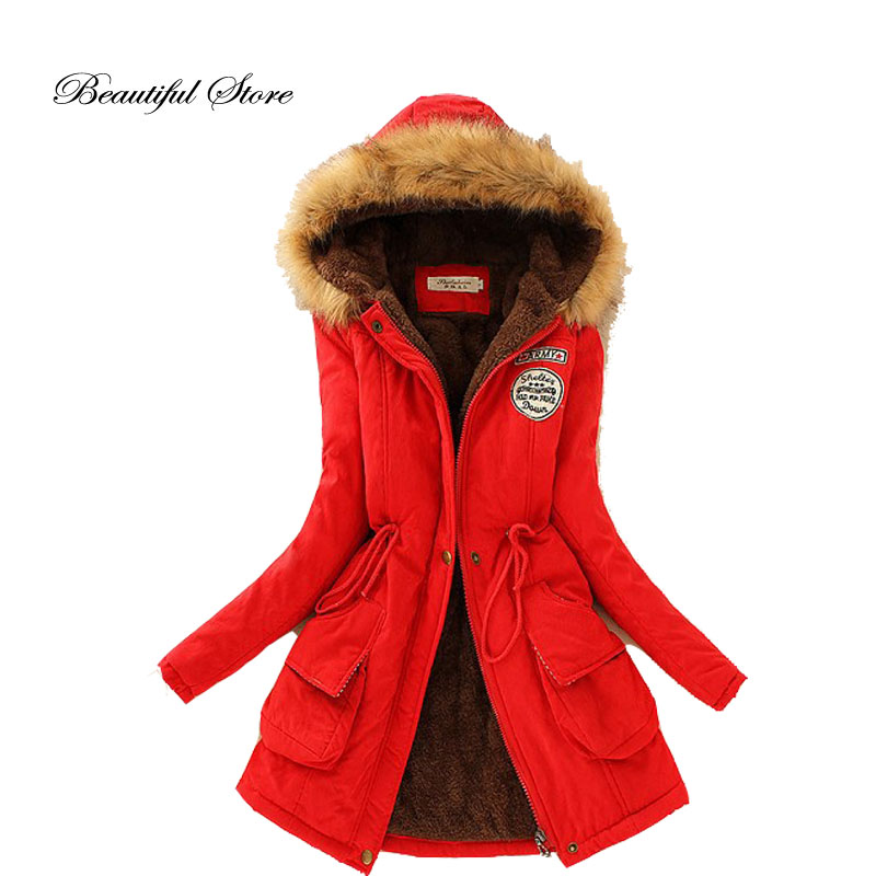 2016 Winter Jacket Fashion Women Casual Hooded Parka Slim Warm Faux Fur Lining Outerwear Plus Size Medium Long Coats Mujer Femme цены онлайн