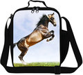 Dispalang newly design kids thermal insulated lunch bags children packing food picnic bags white horse print lunchbox for adults