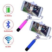 2016 Hot Portable Mini Folding Mobile Phone Wired self Selfie Sticks For iphone Samsung Built-in Shutter Camera Monopod Tripod
