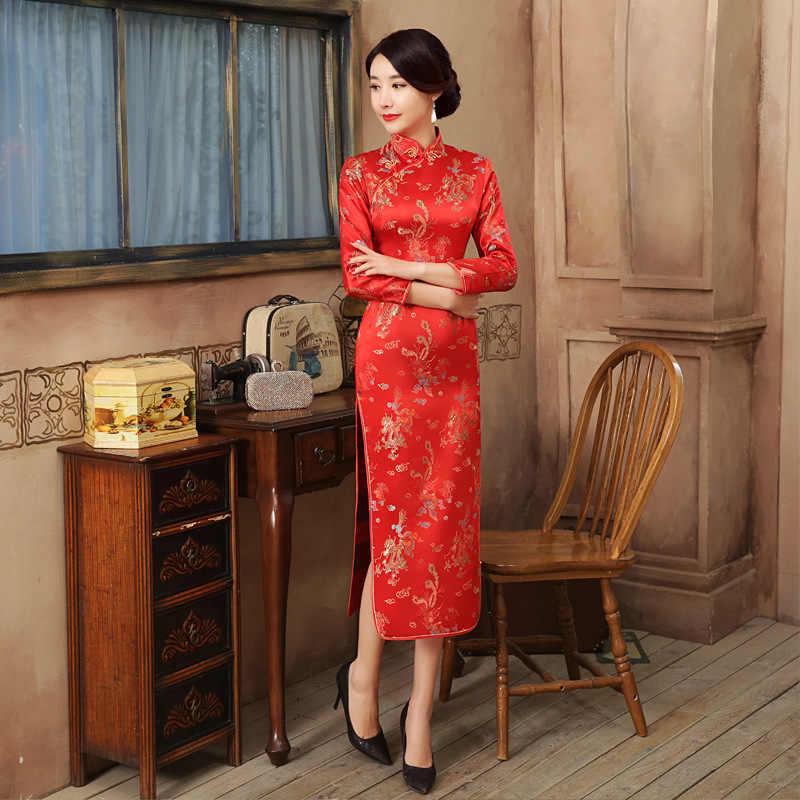 Czerwony chiński ślub panny młodej Party sukienka w stylu qipao Sexy kobiety satyna z krótkim rękawem Cheongsam smok Phoenix Vestidos S M L XL XXL