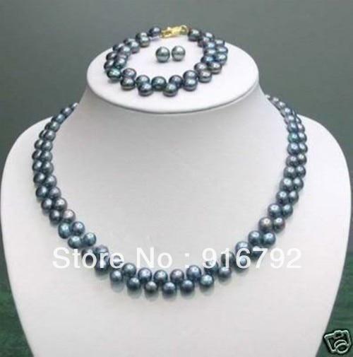 c03625f0b98f Envío libre        AAA 7-8mm negro Akoya collar de perlas pulsera pendiente