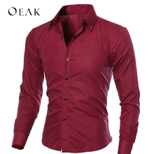 Oeak Spring Autumn Long Sleeve Formal Shirts for Men Solid S