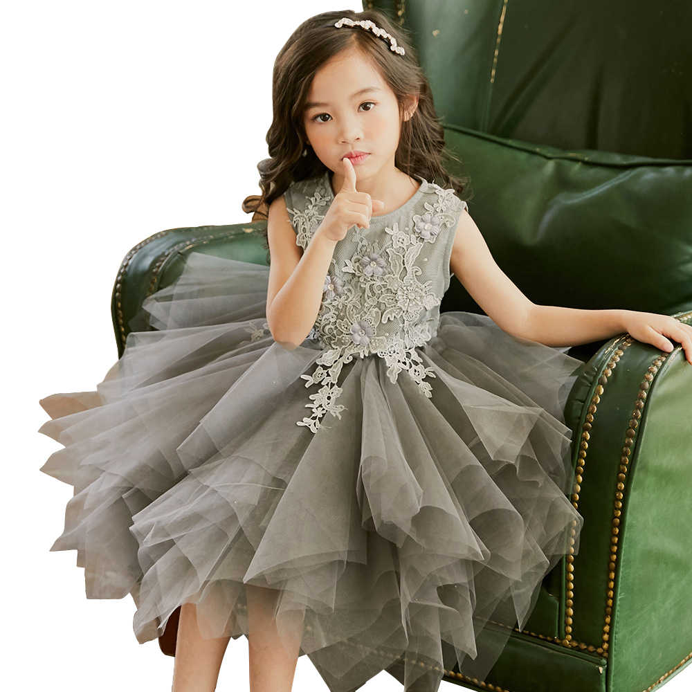 Christmas Long Dress Age 4 12 Yrs Baby Girl Lace Tulle Ball Gown Princess Costume Winter Halloween Party Frocks For Little Girls