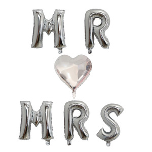 Image 3 - 6pcs 16inch rose gold letter balloons MR MRS heart foil balloon Wedding anniversary Valentines day party decoration supplies