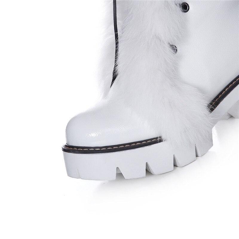Longue Neige Taille blanc Feminina Ymechic Automne Fourrure Bottes Gland Genou Blanc Bota Haute argent Moto De Noir Grande Noir Hiver Liée Femmes Croix Chaussures Pour eWYbDHEI29