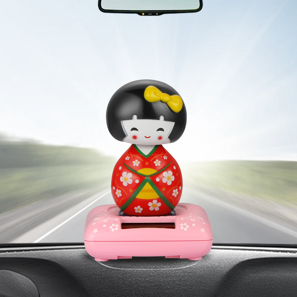 US $4 78 33% OFF|Car Ornaments Cute Japanese Girl Solar Swinging Shaking  Head Doll Automobile Dashboard Decoration Toys Auto Interior Decor Gifts-in
