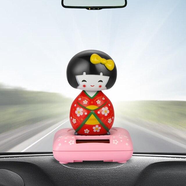 Car Ornaments Cute Japanese Girl Solar Swinging Shaking Head Doll