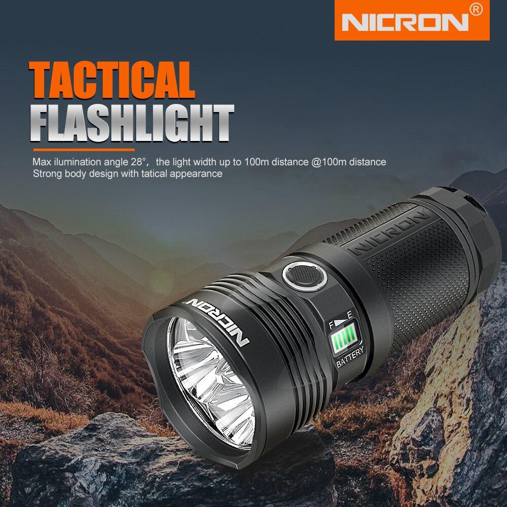 NICRON Crary Lanterna Tática Brilhante 12, 000LM 346m 30, 000CD Super DIODO EMISSOR de Luz Da Tocha B400 IP67 29W 18650 Lanterna À Prova D' Água - 2
