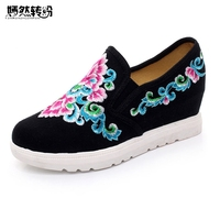 Women Shoes Vintage Embroidery Pumps Floral Casual Canvas Loafers Slip on Cotton Cloth Platform Shoes Zapatos Mujer
