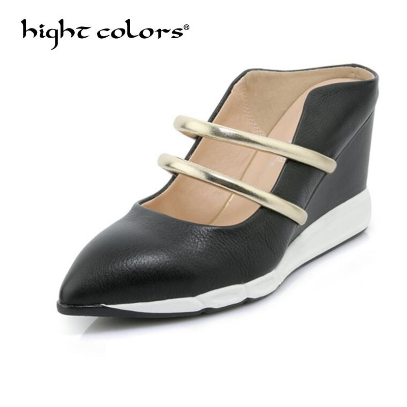 Black Gold Casual Shoes Women Strap High Heels Sandals Pointed Toe Pumps Genuine Leather Platform Wedge Heels Mules Slipper вставка kerama marazzi капелла a2024 4574 9 5x9 5