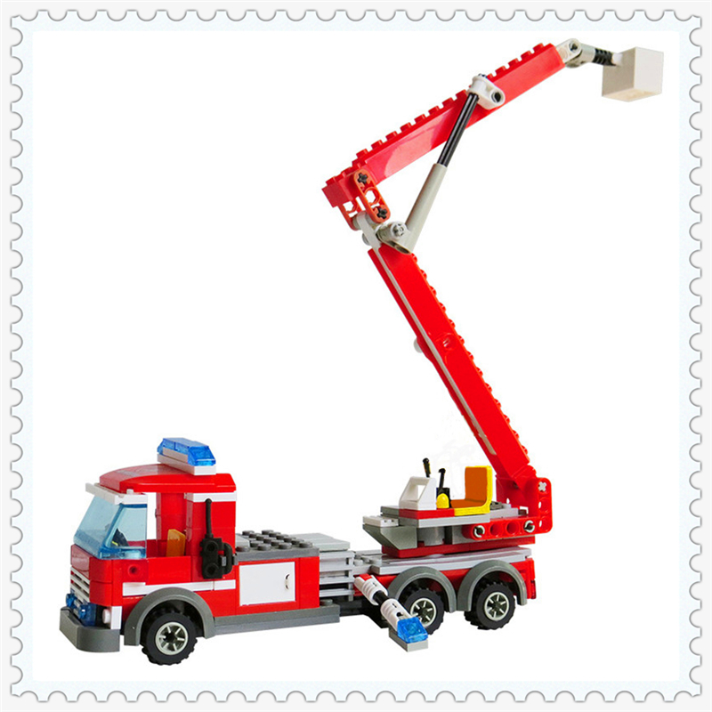244Pcs Fire Fighting Rescue Truck Model Building Block KAZI 8053 Construction Figure Toys Gift For Children Compatible Legoe jie star fire ladder truck 3 kinds deformations city fire series building block toys for children diy assembled block toy 22024