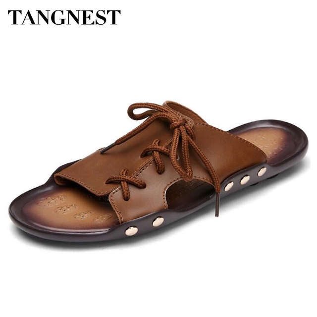 ec9f6491f203 Tangnest Men Lace Up Slippers Summer Style Cool Men Slides Shoes Casual  Beach Flats Shoes Pu