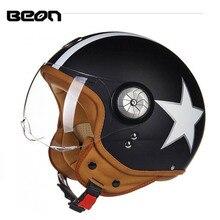 2018 Winter New black star  retro motorcycle helmet 3/4 open face ABS motorbike helmets spitfire scooter PC lens Size M L XL