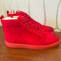 Повседневные Дизайнерские кроссовки, бесплатная доставка, модные мужские красные замшевые кроссовки со стразами, на шнуровке, с высоким бе