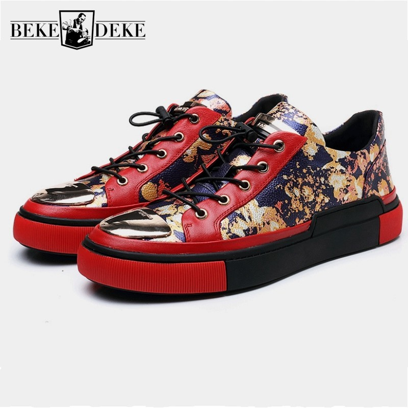 Spring New Shoes Men Red Genuine Leather Casual Shoes Luxury Printing Sequins Sneakers Lace Up Round