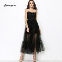 Seamyla Marka Wysokiej Jakości Projektant Runway Sukienki Sexy Organza Czarna Sukienka Bez Rękawów Kobiety Elegancki Celebrity Dress Party 2018
