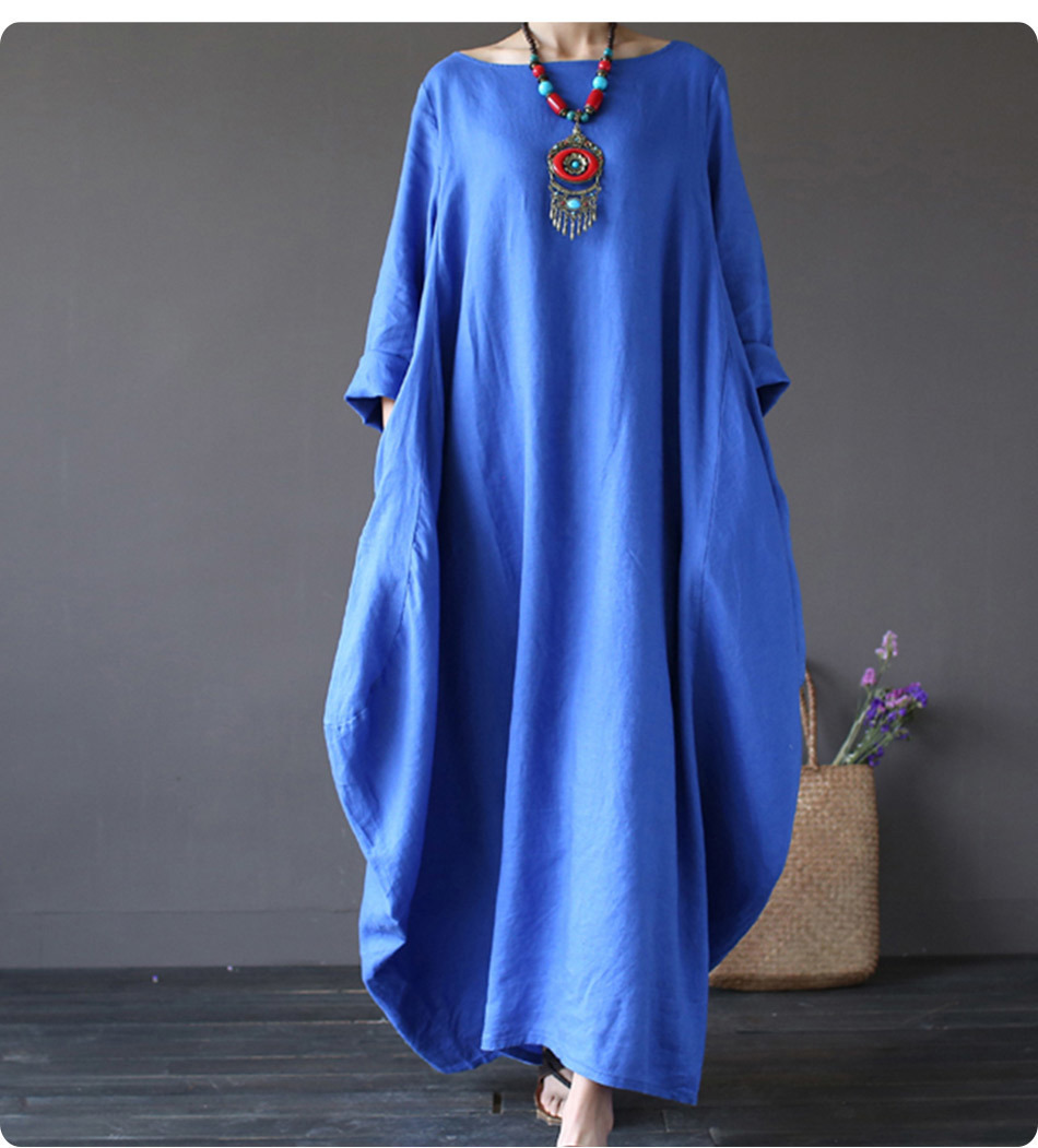 Kaftan Womens Maxi Dress Summer O Neck Long Sleeve Spring Cotton Linen Gown Robe Dresses Plus Size Large Size Dresses 13