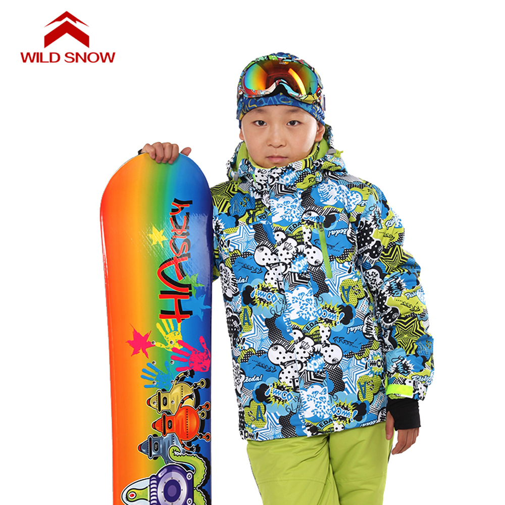 WILD SNOW 2017 Boys Winter Ski Jackets Kids Waterproof Windproof Snow Jacket Girls Warm Jackets Plus Size Children Coat PYJ616 marsnow children ski jacket boys girls warm winter skiing snowboard jackets child windproof waterproof outdoor kids snow coats
