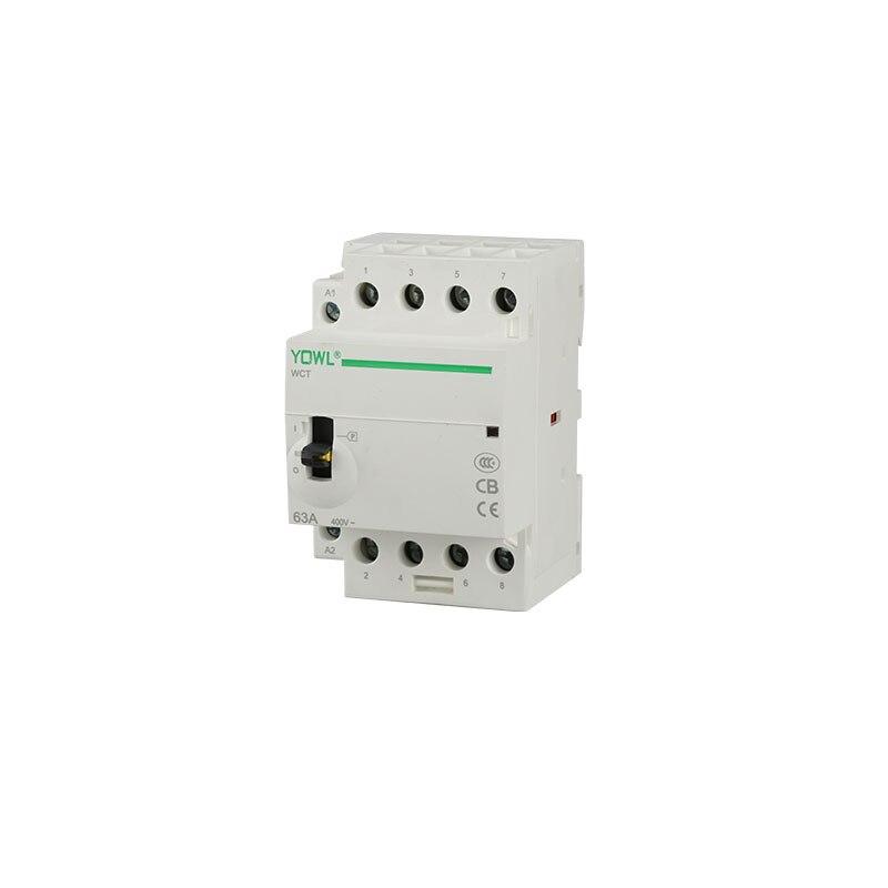 4 P 63A 4NO 4NC 2NO + 2NC 24 V/110 V/230 V 50/60 HZ manuel Interrupteur Din Rail Ménage AC Contacteur