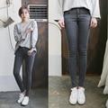 6570 high jeans de cintura fêmea magro cinza preto calças skinny calças lápis calças calças femininas