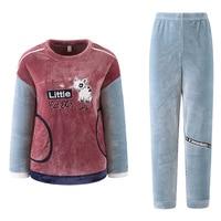 QWEEK Women Sleepwear Flannel Winter Female Pajamas Sets Velvet Thick Female Suit Warm Cartoon Cat Pyjama Femme Casual Home Wear