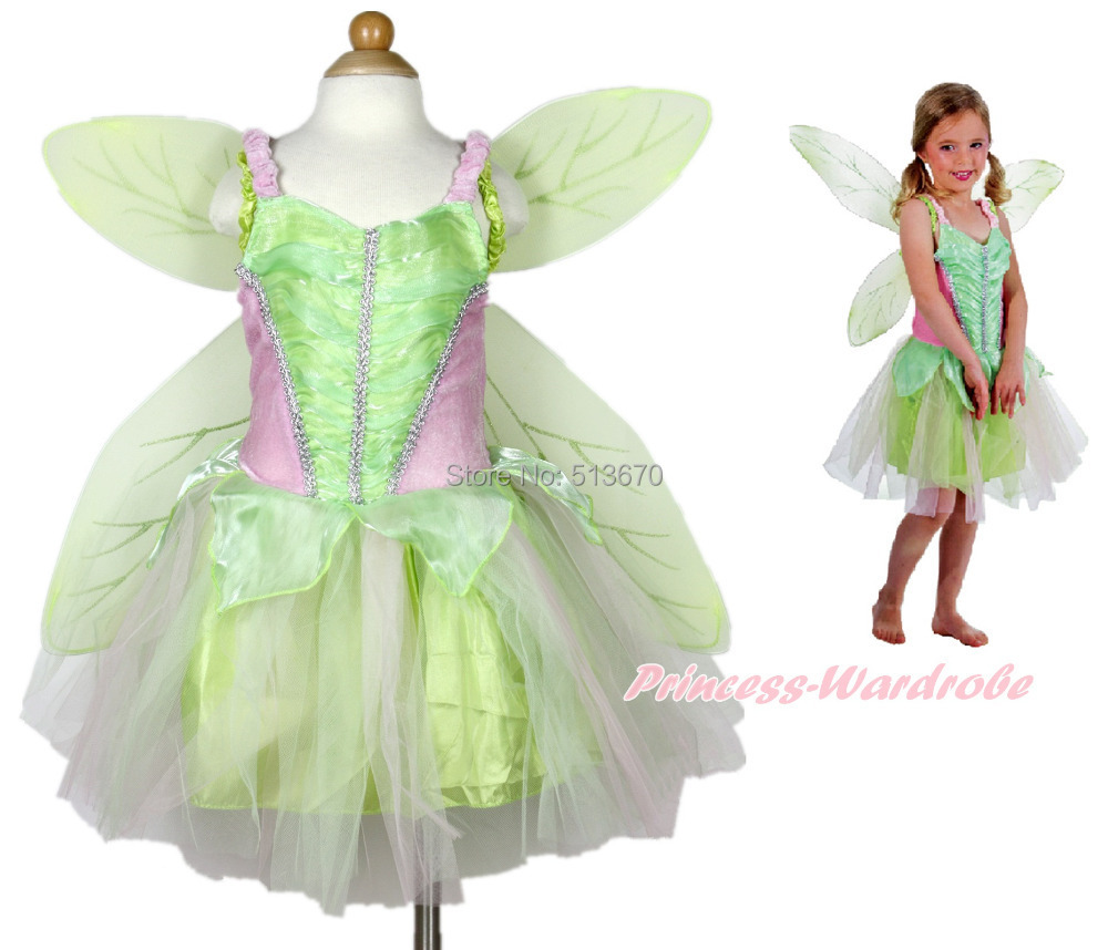Tinker Bell Fairy Kids Girl Halloween Party Costume Dress Wings Set 2-8Year C247 stylish multilayer pu leather tassel pendant necklace for women